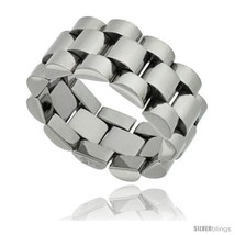 Surgical steel rolex type ring 10mm wedding band polished finish thumb200