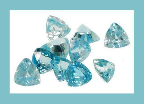 3.25ct Blue ZIRCON Trillion Cut Faceted Loose Gemstone Lot