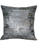 U-L518 PL518-F COWHIDE LEATHER HAIR-ON PATCHWORK CUSHION PILLOW COVER - £22.88 GBP