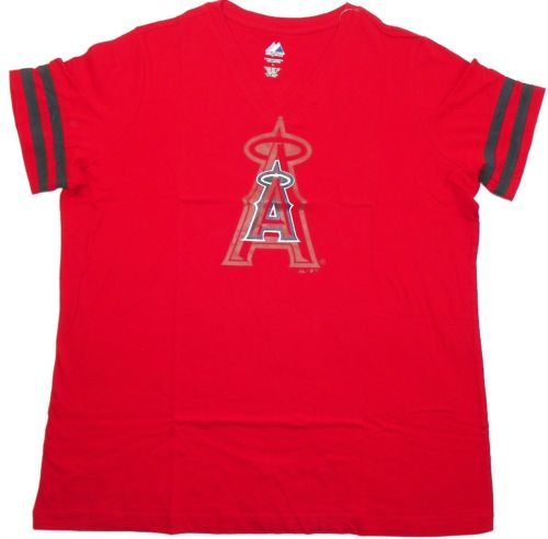 Women's Los Angeles Angels Shirt V-Neck Baseball Tee Sleeve Stripe T-Shirt MLB