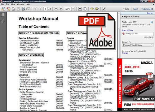 2010 mazda bt 50 workshop manual
