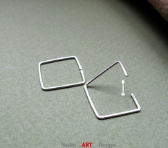 Square Hoop Earrings. Sterling Silver Earrings for Cartilage, Helix, Tra... - $25.00