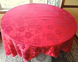 """Red Tone on Tone Embroidered Poinsettia Tablecloth 60"""" x 104"""" - $16.99"""