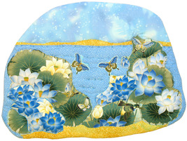 Blue Water Lilies: Quilted Art Wall Hanging - $405.00