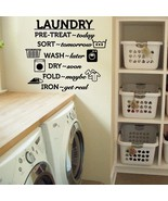 """Laundry Room Wash Dry Fold Iron Vinyl Wall Quote Sticker Decal 43""""w x 36""""h - $39.99"""