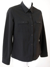 Ann Taylor 4P Shirt Black Stretch Long Sleeve Career Casual Top Petite S... - $19.57