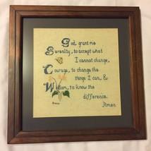 Serenity Prayer Cross Stitch Needlepoint Framed Wall Art - £18.39 GBP