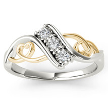 IGI Certified 10k Yellow Two-Tone White Gold 0.09 Ct Diamond Heart Fashi... - $279.99