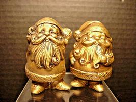 Lefton Gold Santa Claus Salt Pepper Shakers Golden Orig Label Stoppers V... - $17.82