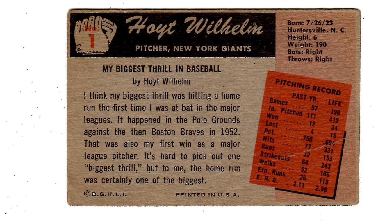 1955 Bowman Regular (Baseball) Card# 1 Hoyt Wilhelm of the New York Giants