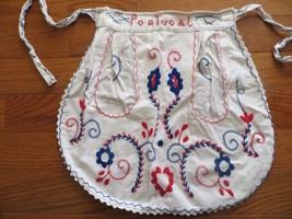Vintage 50s Souvenir Cotton Half Apron Portugal Bright Embroidery Pockets - $15.00