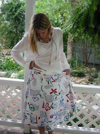 CUTE Skirt Novelty Print Boho hippie OP ART vintage 70s