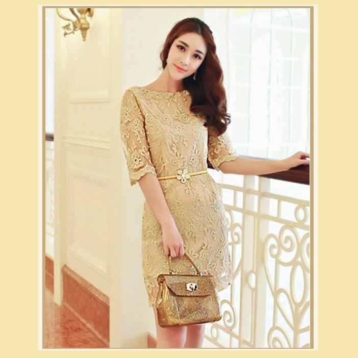 Sweetheart Gold Embroidery Lace Sheath Knee Length Dress Three Quarter Sleeves