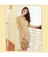 Sweetheart Gold Embroidery Lace Sheath Knee Length Dress Three Quarter S... - $59.95