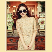 Sweetheart Gold Embroidery Lace Sheath Knee Length Dress Three Quarter Sleeves image 2