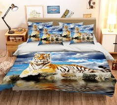 3D Tiger Animal River 20 Bed Pillowcases Quilt Duvet Single Queen King US Summer - $102.84+