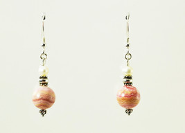 Rhodochrosite and Pearl Sterling Silver Drop Earrings - $18.00
