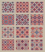 Cross Stitch Sampler 1 For 12 Squares Repeating Fill-In Antique Patterns... - $5.50