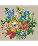 Cross Stitch Pattern PDF Berlin Woolwork Victorian Floral Fusion Vintage... - $7.00