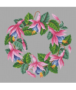 Cross Stitch Pattern PDF Vintage Floral Wreath Fuchsia in 2 colors Pink ... - $8.00