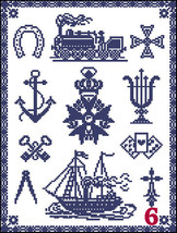 Cross Stitch Sampler Pattern Heraldic Symbols Monochrome Samplers 6 - 8 ... - $5.50