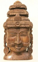Head Man Statue Vintage Hand Carved  Decorative Collectible India US246WH - $560.50