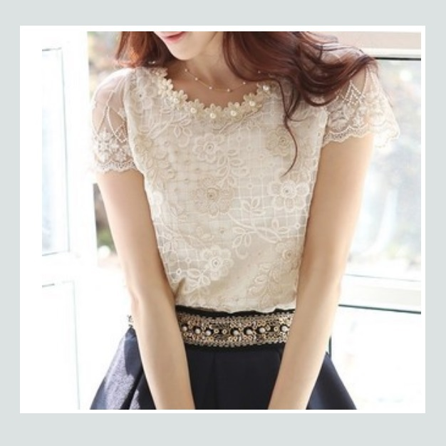 Chiffon Ivory Floral Lace Embroidery Blouse With Pearl Beading and Petal Sleeves