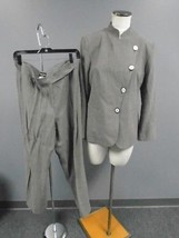 GIORGIO ARMANI Taupe Brown Linen Blend Lined Two Piece Pant Suit Size 46... - $170.63