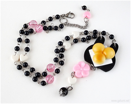 Food Miniature Necklace, Japan, Kawaii Jewelry, Waloli, Wagashi, Spring - $34.00