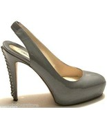 $790 Brian Atwood Shoes Milena Gray Patent Leather Platform Chain Heel P... - $102.80
