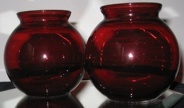 Vintage Ruby Red Globe Vases