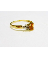14k Yellow Gold Citrine Oval Solitaire & Diamond Ring, Size 6, 0.63(TCW)... - $125.00