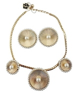 1950s Napier Faux-Pearl Necklace & Earrings Ori... - $110.00