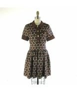 6 - Marc by Marc Jacobs Brown Silk Dot Gold Button Up Short Sleeve Dress... - $58.00
