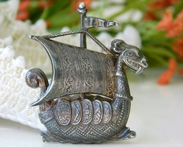Dragon Viking Ship Sailboat Vintage Figural Pin Brooch Spain Metal - €20,30 EUR
