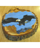 "Bald Eagle Decoupage Wooden Tree Ring Knot 12"" Stump Slice Art Piece with Bark - $38.88"