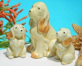 Vintage Cocker Spaniel Dog Family Pups Japan Porcelain Figurines - $17.95