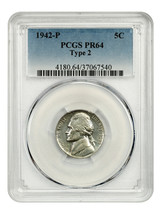 1942-P 5c PCGS PR 64 (Ty. 2, Silver) War Nickel - Jefferson Nickel - War... - $135.80
