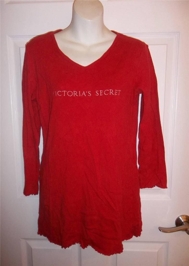 Victoria 39 s secret long sleeve 100 cotton red sleep tee Long cotton sleep shirts