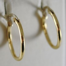 18K YELLOW GOLD EARRINGS LITTLE CIRCLE HOOP 16 MM 0.63 IN DIAMETER MADE IN ITALY image 1