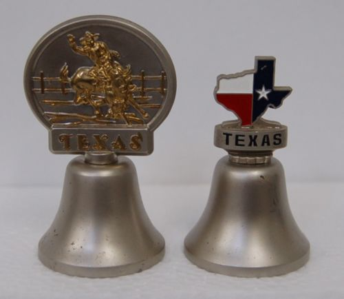 2 Metal Texas Bells 3 Inches Tall State Red White Blue Medallion Bronc Rider