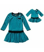 Dollie Me Girl 4-14 and Doll Teal Black Drop Waist Dress Clothes America... - $27.99+