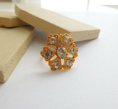 Vintage Signed Vogue Yellow Gold Tone Crystal Rhinestone Flower Ring Siz... - $16.82