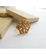 Vintage Signed Vogue Yellow Gold Tone Crystal Rhinestone Flower Ring Siz... - $16.82