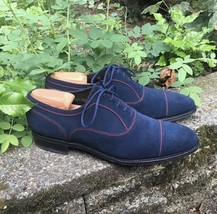 Handmade Men's Blue Suede Lace Up Dress/Formal Oxford Shoes image 1
