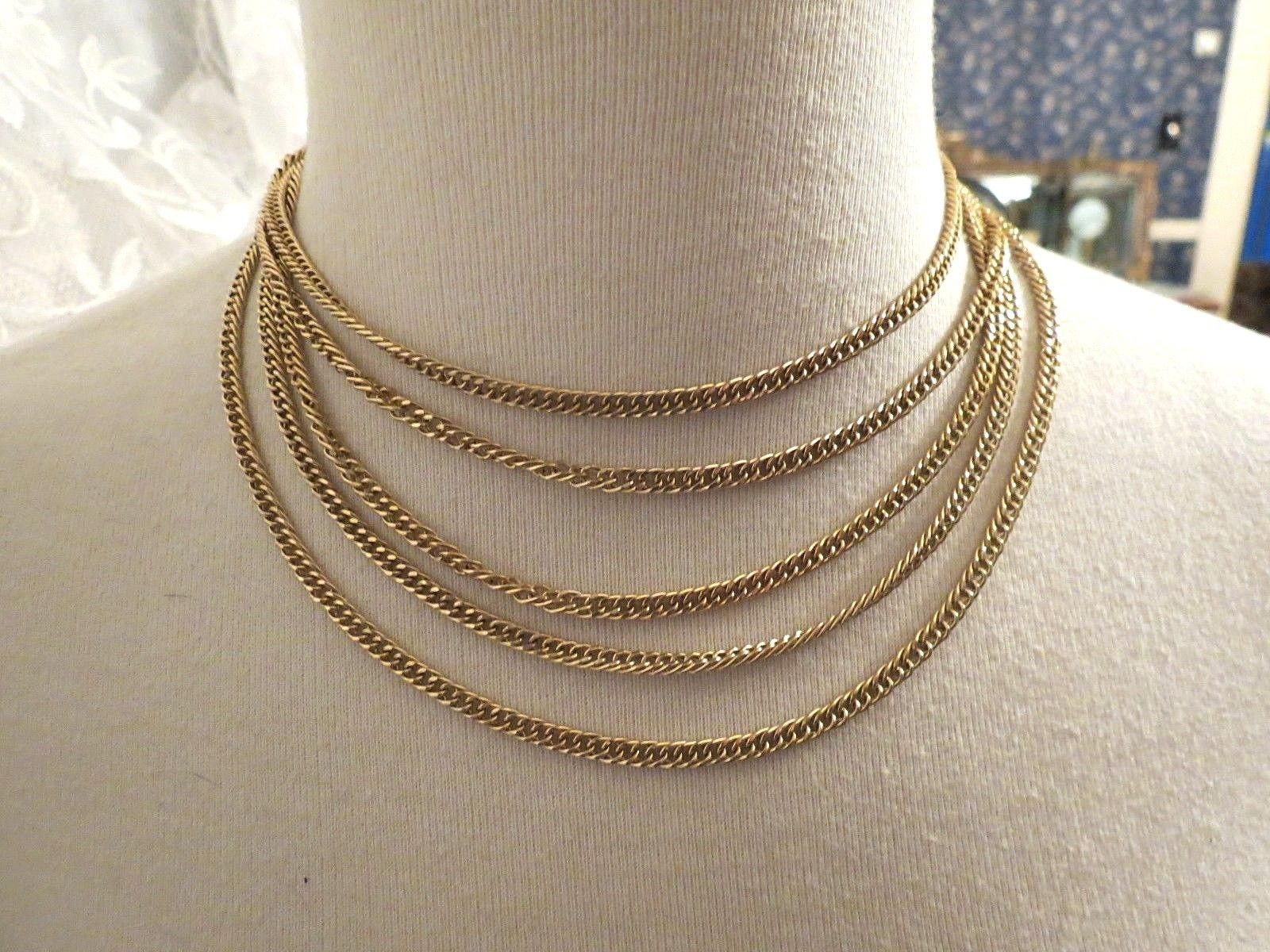 VTG Couture Trifari Necklace Mult Chain Gold Plated Designer Fancy Leaf Catch