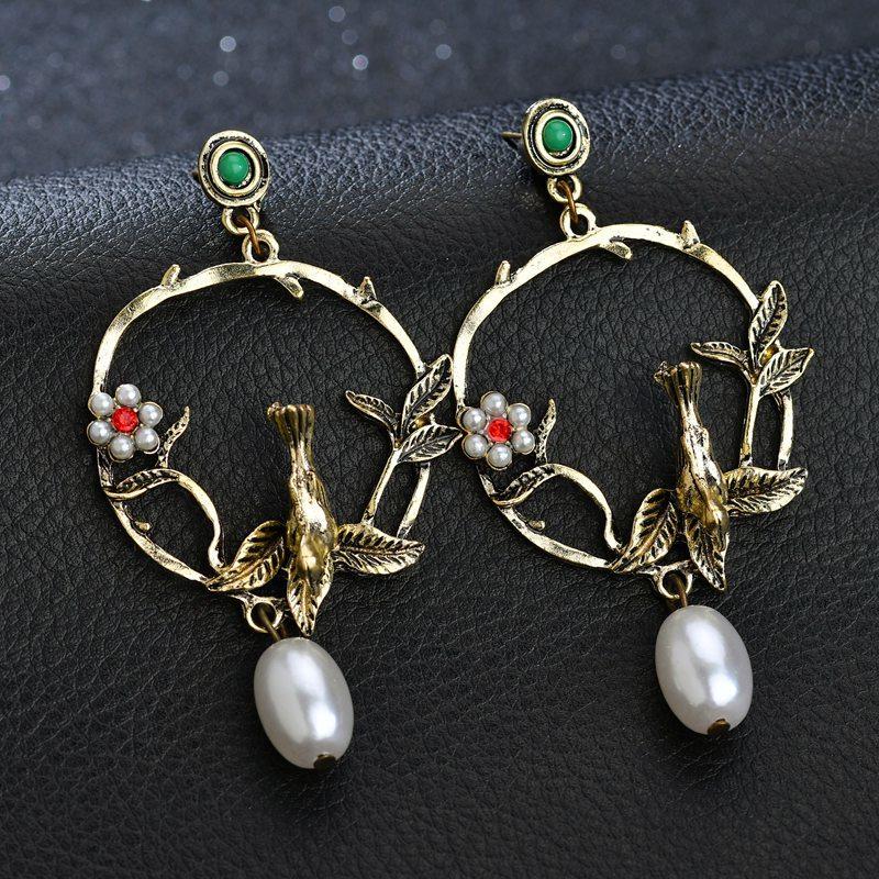 BAHYHAQ -  Vintage Alloy Bird Charm Earrings Metal Big Round Stud Earrings