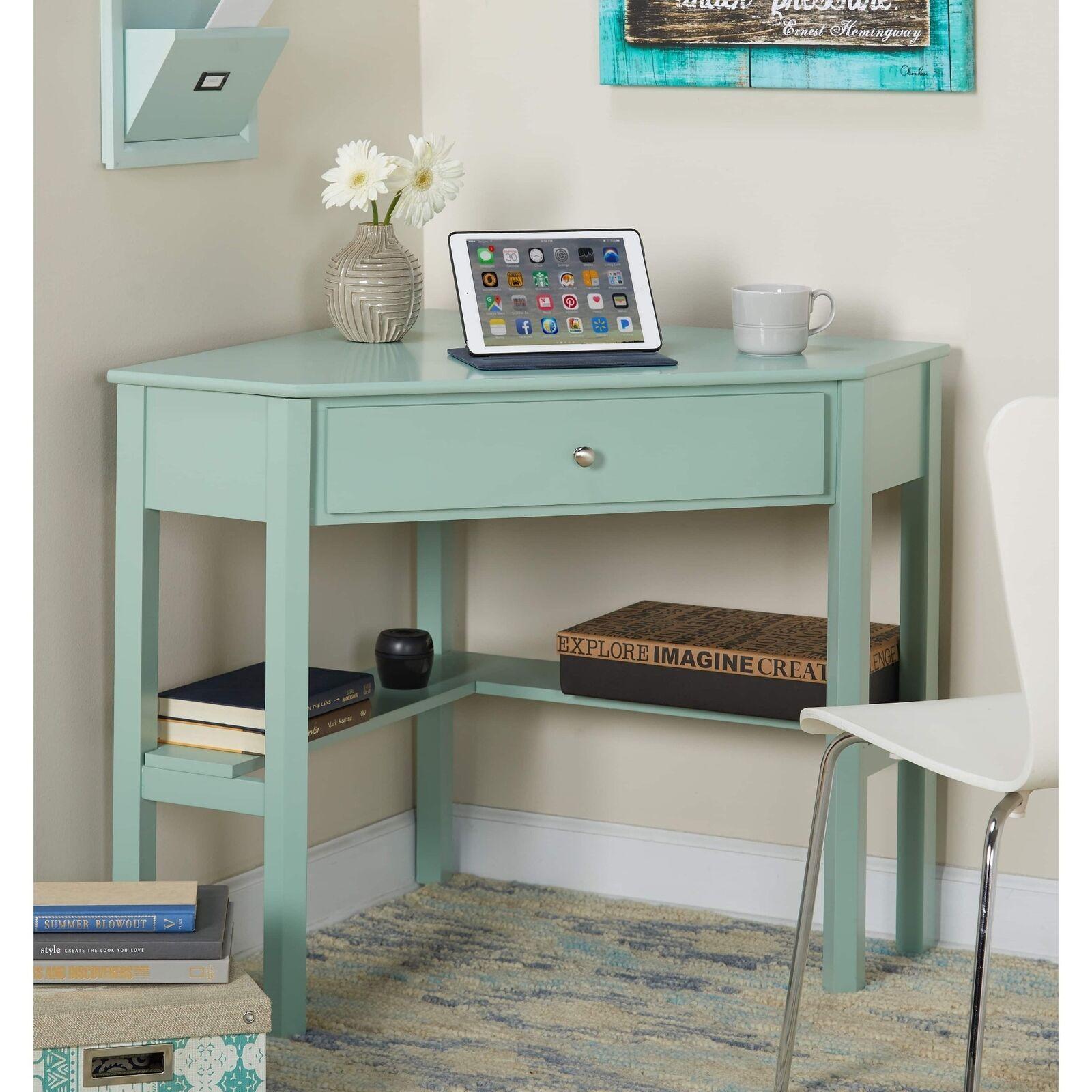 Mint Green Wooden Corner Desk Laptop Student Writing Home