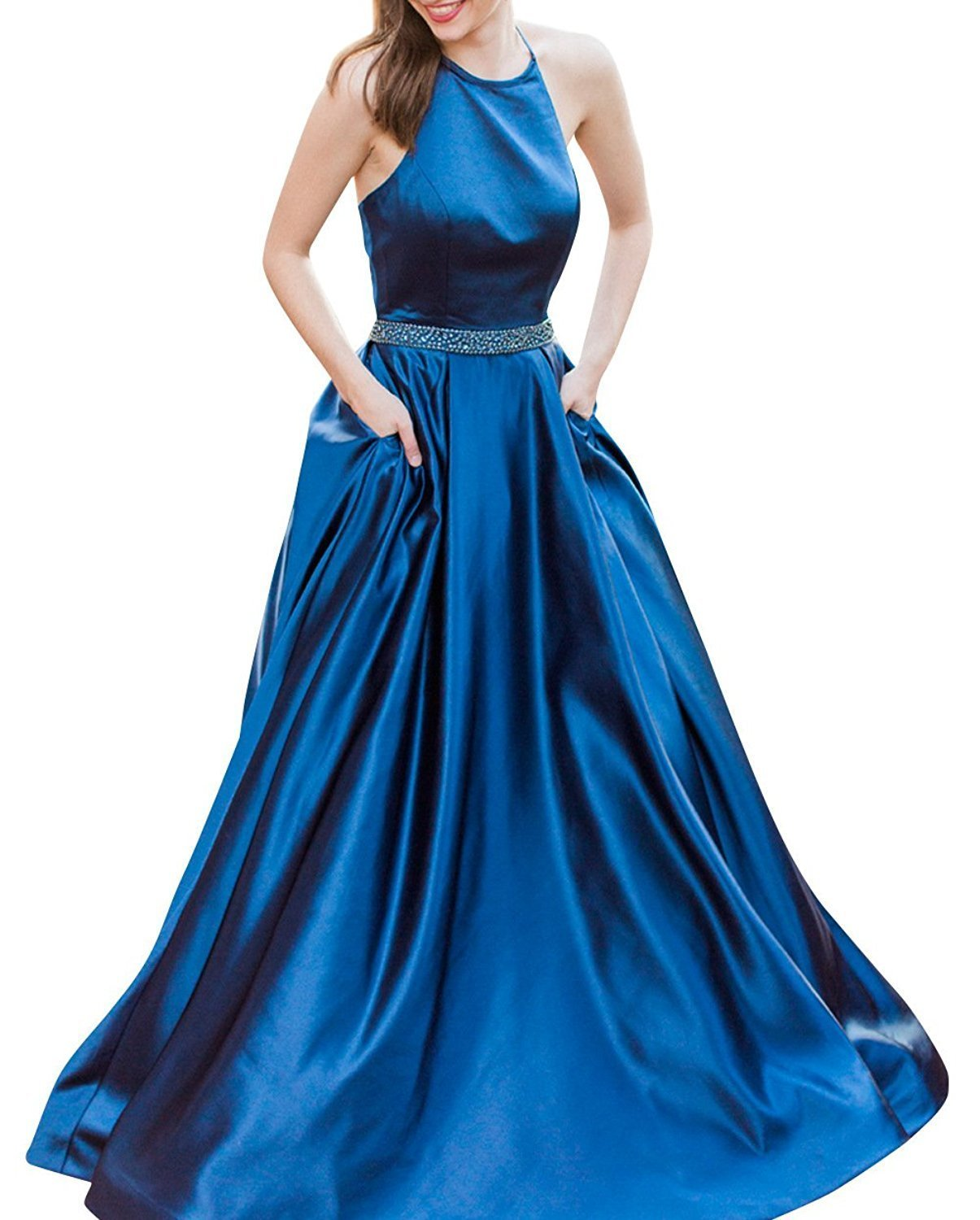 Primary image for Women's Long Halter Prom Dress with Pockets Beaded Evening Formal Ball Gowns
