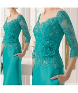 Green Long Sleeve 3/4 Lace Mother Of The Bride Dress Floor Length Evenin... - $148.99